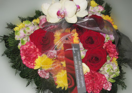 Grabschmuck Kissen Herzform, Rosen, Nelken, Gerbera, Orchidee, bunt