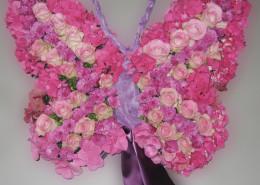 Grabschmuck für Kind, Kissen, Schmetterling, Rosen, Hortensien, rosa