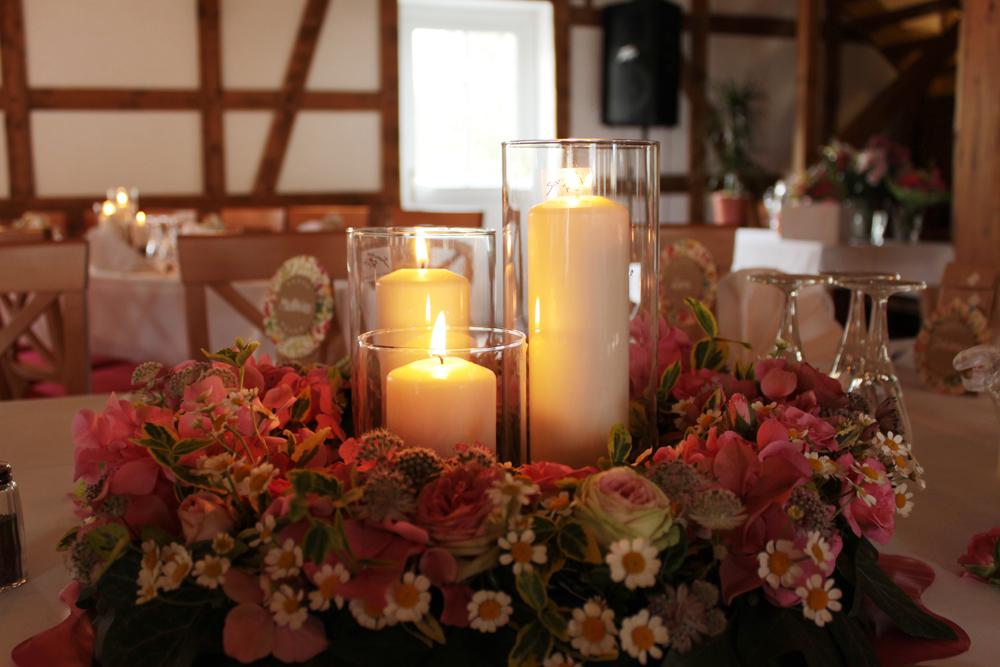 Hochzeitsfloristik Tischschmuck Kranz Rosa, Rosen, Hortensien