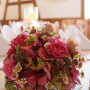 Hochzeit Tischschmuck Rundes Gesteck Rosa, Rosen, Hortensien