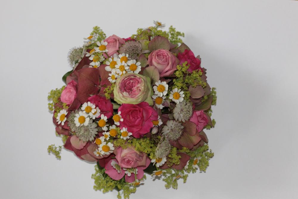 Hochzeitsfloristik Tischschmuck rosa, Rosen, Hortensie