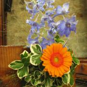Hochzeit Bankschmuck Gerbera, Delphinium, orange, blau