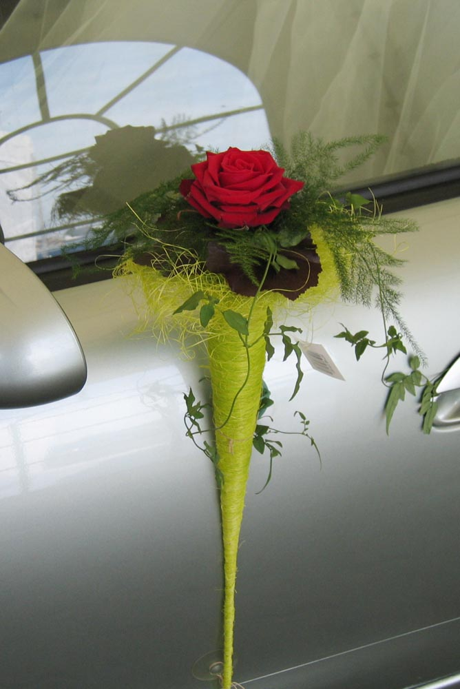 Hochzeitsfloristik Autoschmuck Tür, Rose
