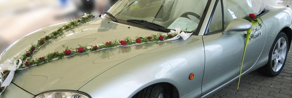 Hochzeit Autoschmuck bandförmig, Rosen