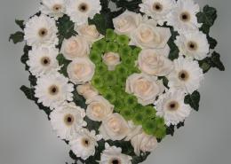 Grabkissen Herzform, Rosen, Gerbera