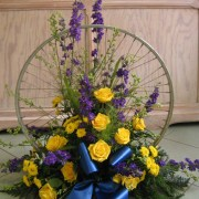 Raumschmuck Radsportevent, gelb-blau