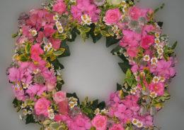 Grab - Sarg -Kranz mit rosa Rosen und Hortensien, Blumeneck Kreinacker Hainichen